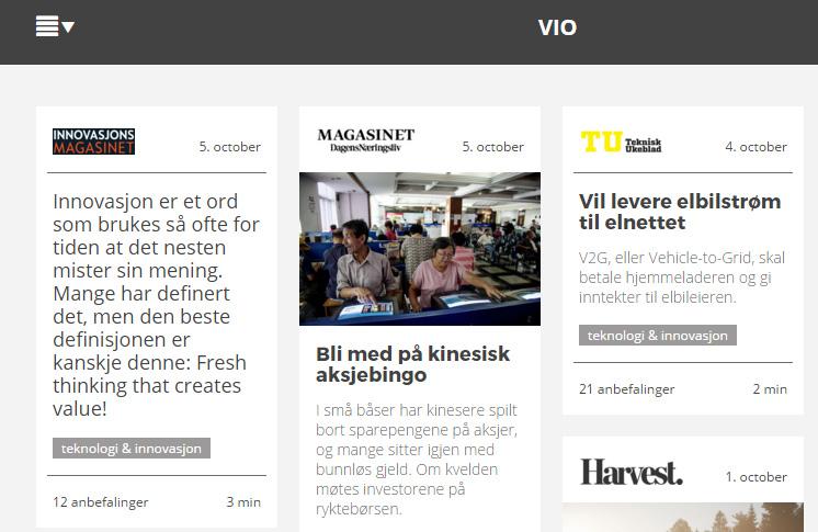 Er norske VIO representant for den nye digitale distribusjonsmodellen? Skjermbilde hentet fra VIOs nettsider.